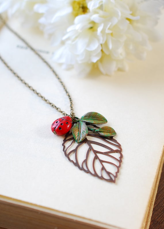 Ladybug Necklace, Ladybug Jewelry, Large Copper Filigree Leaf Necklace, Green Verdigris Leaf Branch Necklace, Gift for Her, Summer Jewelry