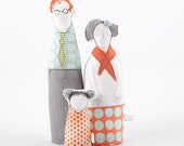 Parents and a girl dolls -He Redhair in glasses , mint retro shirt, Girls with pigtails dresses with peach and aqua & orange, timohandmade
