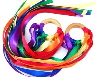 TWO Waldorf Kites, Whirligig Rainbow Streamers, Color Learning and Imaginative Play