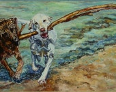 Beach Dogs, Giclee on Canvas, large