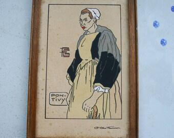 Breton Woman Femme de Pontivy Georges Geo-Fourrier Brittany Vintage Framed Print 1928
