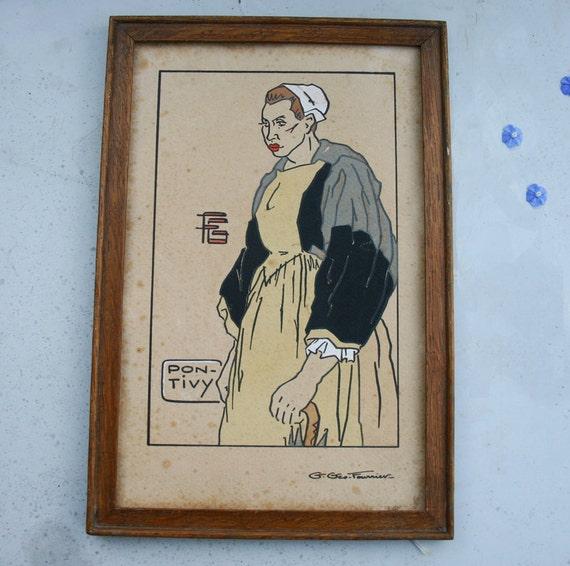 "Breton Woman ""Femme de Pontivy""by Georges Geo-Fourrier - 1928 Brittany Vintage Print"