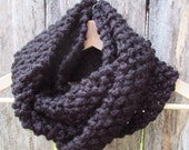 CLEARANCE womens infinity knit cowl scarf // black