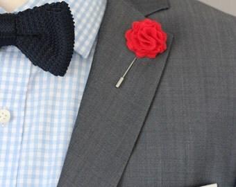 Red Carnation, Men's Wool Red Felt Lapel Flower boutonniere, red flower pin