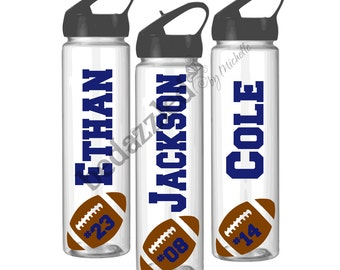 Personalized Water Bottles, Sports, Basketball, Football, Soccer, Volleyball ,  Flip Top