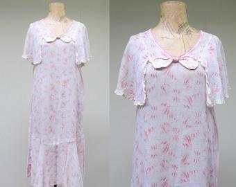 Vintage 1920s Dress / 20s Pink Cotton Gauze Capelet Chemise / Small