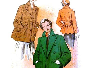 Vintage 1950s Jacket Pattern Uncut Size 14 Bust 32 Advance 5219
