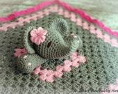 Elephant Lovey, Pink and Gray Elephant Security Blanket, Blankie, MADE TO ORDER