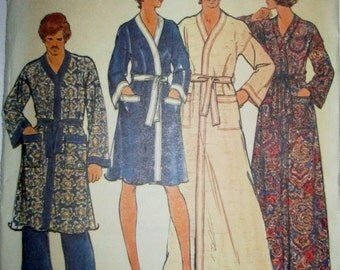 Butterick 4157 Unisex 70s Wrapped Robe Sewing Pattern Chest Bust 31 32
