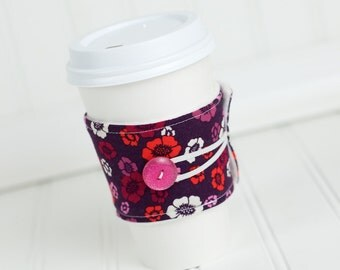 Reusable Fabric Coffee Sleeve, Purple Floral, Women Girls Gals, Cozy Cuff