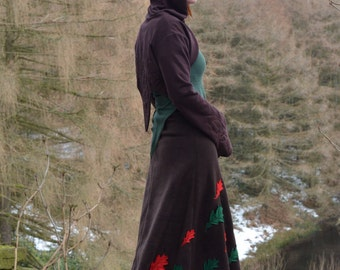 Forest Crystal Bolero ~ Intricate Embroidery ~ Pointy Hood ~ Pixie Clothing ~ Enchanted Elf ~ Custom Made ~