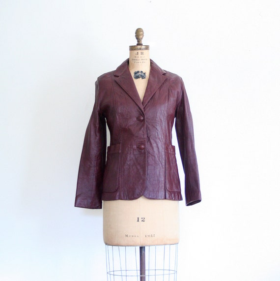 wine leather blazer - ladies jacket / Cordovan - vintage 70's / Retro
