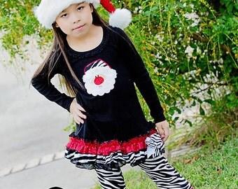 Zebra Santa Dress- Christmas Santa dress- Christmas Dress- Embroidered Shirt- Embroidery Shirt- Christmas Shirt- Christmas Outfit