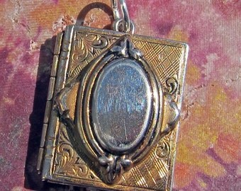 SALE -- Vintage Open Book Style Photo Pendant Holds Two Photos
