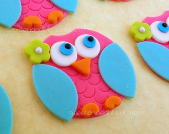 PINK and BLUE OWL Edible Cupcake Toppers
