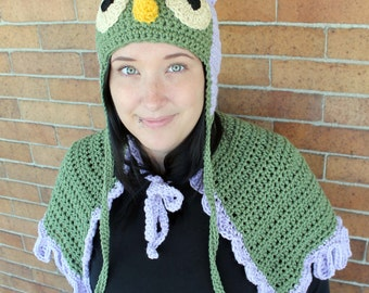 Owl Crochet Earflap Hat and Capelet Halloween Costume - Kids or Adult - Any Colors - Childrens Accessories by Julian Bean
