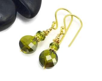 Green Earrings, CZ Earrings, Dangle Earrings, Cubic Zirconia, Vermeil Earrings