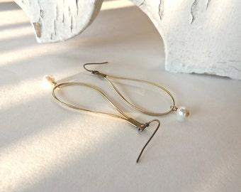 GUITAR STRING EARRINGS - gold earrings with pearls - for teens and adults - recycled/eco-friendly/upcycled jewelry - under 25.00
