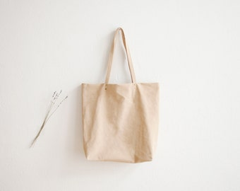 Nude Leather Tote Bag | Leather Shopper | Women's Shoulder Bag | Nude