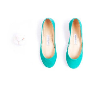Teal Leather Ballet Flats | Ballerina Flats | Slip Ons Teal...made to order