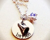 Adorable Hand Stamped Cheer necklace, Megaphone and birthstone, Custom, personalized