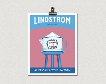 Swedish Coffee Pot Lindstrom Water Tower Minnesota Roadside Attraction Travel Poster Print