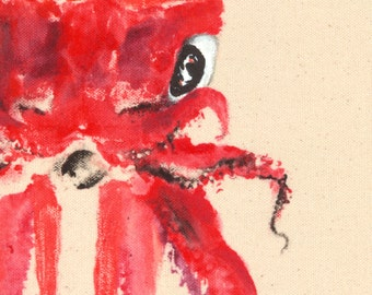 ARROWHEAD SQUID Gyotaku Fish Print