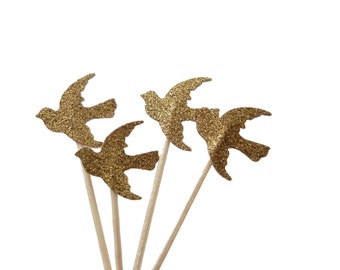 24 Glittered Gold Dove Cupcake Toppers, Party Picks, Food Picks, Toothpicks, Drink Picks - No444
