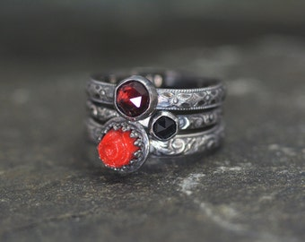 Dramatic Blood Red Stacking Rings, Size 7, 3 Stacking Ring Set, Sterling Silver, Vintage Glass Red Rose, Red Garnet, Black Spinel