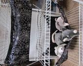 2pc. Ferret Hammock Set, Guinea Pigs, Chinchilla, Rabbits, Bedding,Cage Bedding Set, Small Animal Bedding, w/Latches, Silver Gothic Cobwebs