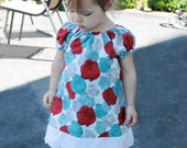 Red and teal rose floral peasant dress in sizes 3 months 6 months 9 months 12 months 18 months 24 months