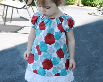 Red and teal rose floral boutique peasant dress in 3 months up to Size 6 girls LAST ONE!