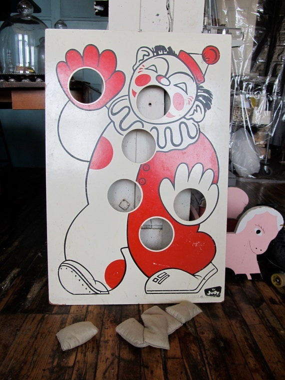 Vintage Clown Judy Instructo Bean Bag Toss Game Mid Century
