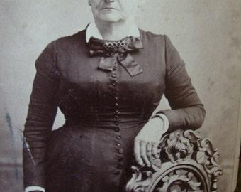 Antique Photo Sepia Woman's Portrait Black and White Victorian Edwardian Photo Victorian Woman Paper Ephemera Antique Dress 105