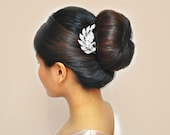 Rhinestone Leaf Hair Comb: Bridal Accessory, Foliage Wedding Headpiece