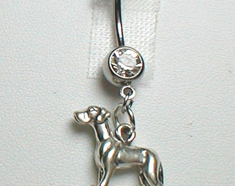 Great Dane Dog Belly Ring in Sterling Silver