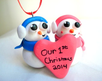 Our First Christmas Ornament Polymer Clay Snowman Family Personalized Christmas Ornament First Anniversary