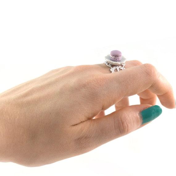Miniature Purple Macaron Ring Food Fashion Jewelry