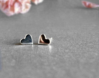 Tiny Cute Heart Earring Post, Sterling Silver Studs, Shape Earrings
