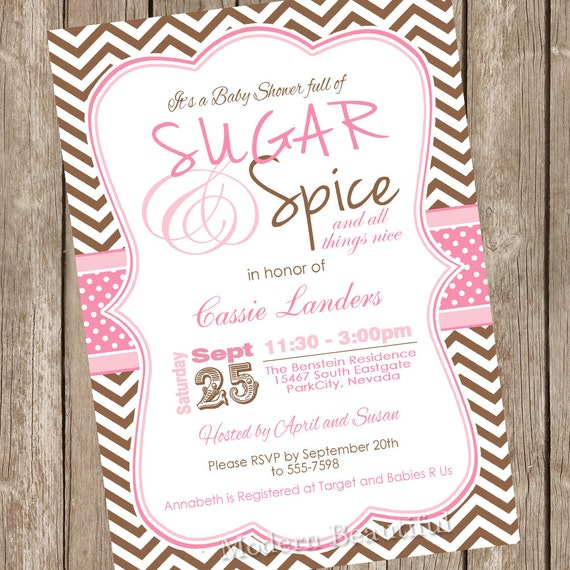 Pink And Brown Chevron Sugar And Spice Girl Baby Shower Invitation