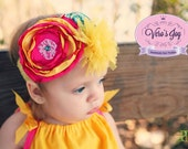Pink bright yellow aqua couture Headband with for newborn  toddler  child  girl