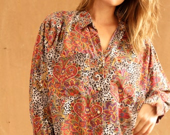 VINTAGE women's versace style 90s abstract SURF slouchy WILD baroque button up shirt