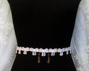 White Lace Sash, Bow Belt, Peach Bridesmaid Belt, Pink Bridesmaid Sash, Beaded Sash