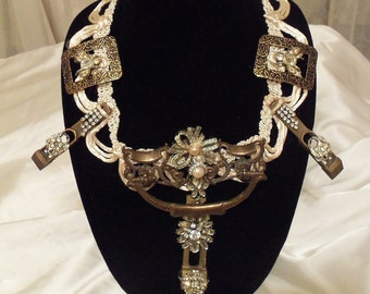 Glamor Necklace Victorian, Avant Garde Bridal Jewelry, ネックレス ウエディング,  Flowers n Bees Steampunk Please
