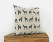 18x18 Hand Printed Deer Pillow Cover | Stag Cushion Cover in Charcoal Grey and Natural Beige | Decorative Throw Pillow Case, Cushion Cover