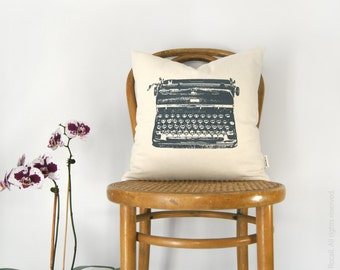 16x16 Vintage Typewriter Decorative Throw Pillow Case, Cushion Cover in Dark Grey, Aqua, Beige and Ikat Accent | Mid Century Home Decor