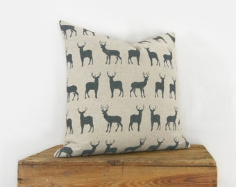 18x18 Hand Printed Deer Pillow Cover | Stag Cushion Cover in Charcoal Gray and Natural Beige | Decorative Throw Pillow Case, Cushion Cover