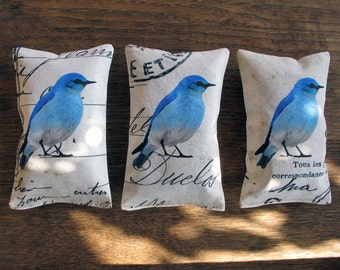 Set of 3 organic french lavender mini pillows, blue birds collection,  Fragrant Home Decor, scented sachet