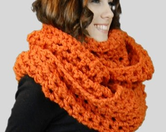 Chunky Scarf, Orange Extra Wide Super Oversized Cozy Chunky Infinity Scarf, Winter Fashion Accessories