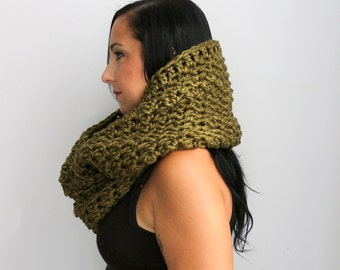 The Haman Textured Oversized  Circle Scarf, Olive Green Textured Infinity Scarf,